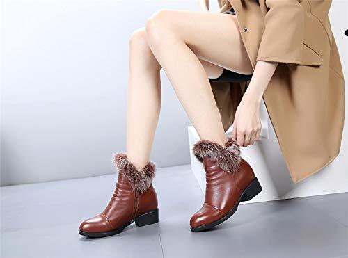 PINGXIANNV Mode Winter Kurze Knöchel Knöchel Knöchel Schneeschuhe Für Frauen Winter Reißverschluss Quadratische Fersen Schuhe e16311
