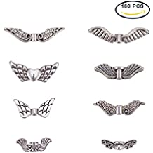 PandaHall Elite Vintage Assorted Tibetan Antique Silver Plated Wing Charm Beads Spacer Jewelry Findings Parts 160 pcs With Container Box