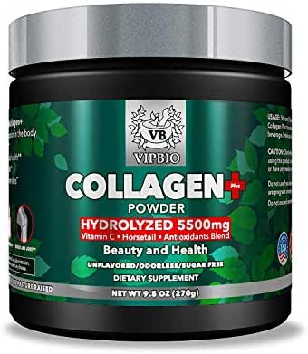 VipBio Collagen Plus Powder 9.5 Oz.| Natural 5500 mg Grass-Fed | Hydrolyzed Bovine Collagen | Vitamin C | Antioxidants Blend | Non-GMO | Gluten Free | Unflavored Protein for Beauty & Health