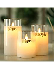 JHY DESIGN Glass Flameless Candles Pillar Battery Candle Flickering LED Candles Moving Wick Electric Candles Battery Operated with 6-Hour Timer for Home Hallway Party Weddings(3 Pack, LIVE LOVE LAUGH)