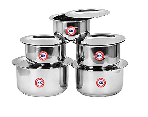 Stainless Steel 5 Pcs Tope Set/Patila/Cookware Set with Lids K.K Brand (600 ML, 800 ML, 1100 ML, 1400 ML, 1700 ML), 26 Guage Induction & Gas Stove Friendly 5 Pcs Set (Small (10-14))