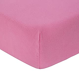 TILLYOU 100% Cotton Flannel Crib Sheet Warm, Ultra Soft Fitted Toddler Sheets for Girls, Breathable Cozy Baby Sheets, 28 x 52in Fit Standard Crib/Toddler Mattress, Pink