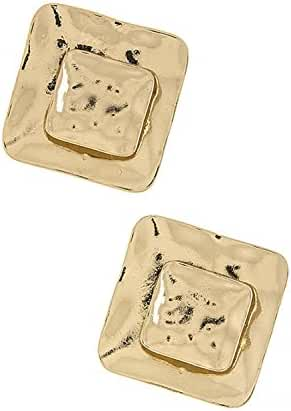 KARMAS CANVAS HAMMERED SQUARE EARRINGS