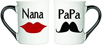 Nana & Papa Mugs (Mustache and Lips) Set Of Two Coffee Cups, Spouse Mugs, Ceramic Mugs, Custom Gifts By Tumbleweed