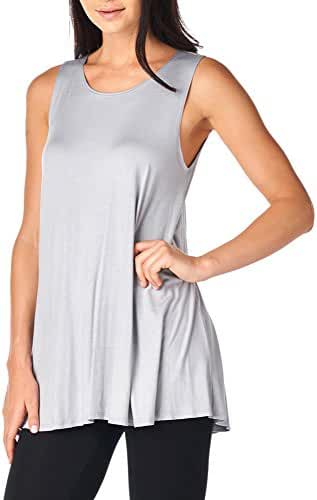 82 Days Women'S Rayon Span Super Comfy Tank-Top Tunic - Solid