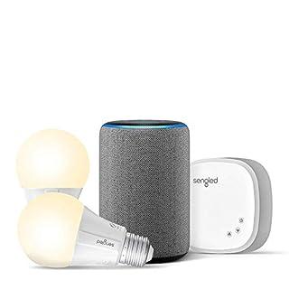 Echo (3rd Gen) Heather Gray Bundle with Sengled 2-pack Smart Bulb starter kit