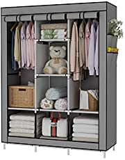UDEAR Portable Wardrobe Closet Clothes Organizer No-Woven Fabric Cover with 6 Storage Shelves, 2 Hanging Sections and 4 Side Pockets,Grey