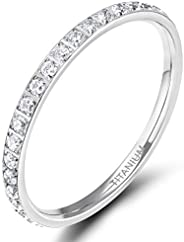 Tigrade 2mm Womens Titanium Eternity Rings Cubic Zirconia Wedding Engagement Band Size 3-12