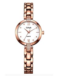 GEYA Women GY76003C Crystal Jewelry Stainless Steel Quartz Analog Display Wrist Watch Rose Gold White