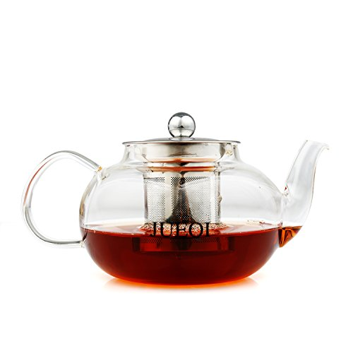 JUEQI Teapot With Stainless Steel Infuser & Lid - Borosilicate Glass Tea Pots Microwavable and Stovetop Safe, 27 oz (800 ml)