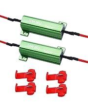 Twidec/2Pcs 50W 6Ohm LED Load Resistors For Fix LED Hyper Flash Turn Signal Light or LED License Plate Lights RX24-50W6-2X
