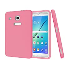 Samsung Galaxy Tab E 8.0 inch Kids Case,Y&M(TM)Silicone + PC,Anti-Finger Scrach-Proof Camera Screen Protective Safety and Non-Toxicity, Lasting Color Shockproof Rugged 3 in 1 Hybrid Case Cover for Samsung Galaxy Tab E 8.0 inch (pink/grey)
