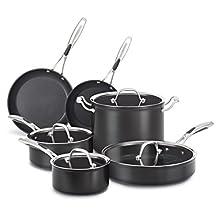 KitchenAid KCH1S10KD Hard Anodized Nonstick 10-Piece Cookware Set, Black Diamond