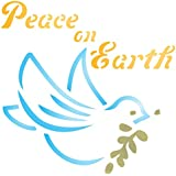 """Peace on Earth Stencil - (size 6.5""""w x 6.5""""h) - Reusable Christmas Dove Olive Branch Stencils for Painting - Use on Walls, Floors, Fabrics, Glass, Wood, Paper, and More…"""