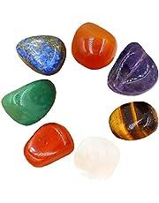 Chakra stenar naturliga färgglada Polerad Healing Crystal Chakra Stones Decor för att läka för terapi Meditation Worry Avkoppling Yoga 7st