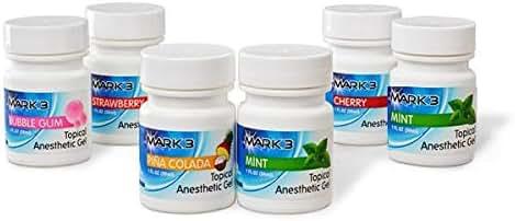 Mark3 Dental Topical Anesthetic Gel 5 + 1 Free Bottles (1.12oz), Benzocaine 20% Bubblegum