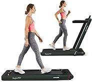 Goplus 2 in 1 Folding Treadmill, 2.25HP Under Desk Electric Treadmill, Installation-Free with Bluetooth Speake