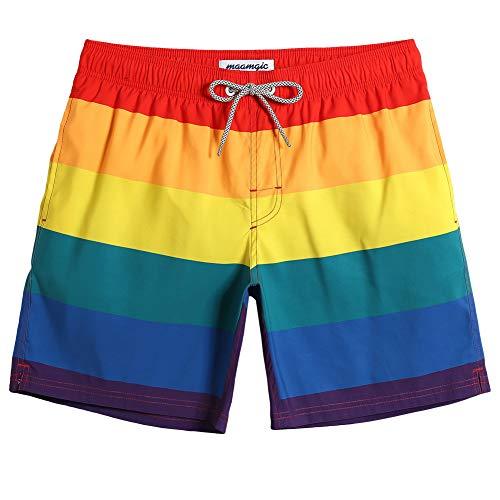 maamgic Mens Rainbow Swim Trunks Bathing Suits