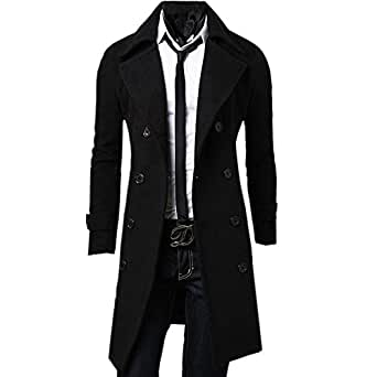 Zeagoo Men's Trench Coat Winter Long Jacket Double Breasted Overcoat at Amazon Men's Clothing store:
