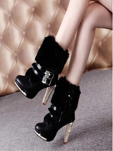 YSFU Botas Botines De Las Las Las Mujeres Zapatos Casuales De Tacón Alto Durable Damas Bootie Otoño Invierno Al Aire Libre Tacones De Tacón c399f1