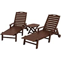 POLYWOOD PWS145-1-MA Nautical 3-Piece Chaise Set, Mahogany