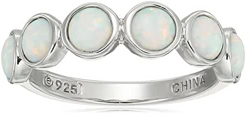 Platinum Plated Sterling Silver Created Opal Ring