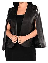 Zantt Womens Faux PU Leather Open Front Cape Poncho Short Blazer Coat