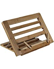 Cookbook Stand and Recipe Holder - Holds Cookbooks, Textbooks and Tablets - Adjustable Bamboo Stand By ASPECT Homewares