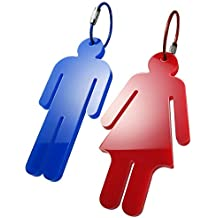 Men's & Women's Acrylic Restroom Keychain Tags - Perfect for designating Bathroom Keys at The Office or in The Classroom! (1 Pair)