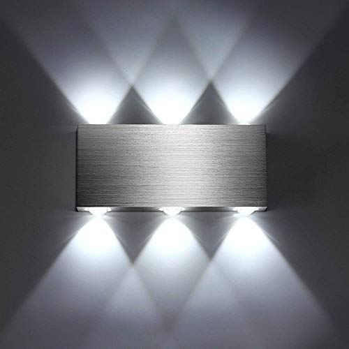 SISVIV Apliques de Pared Puro Aluminio 6 LED 6W Lampara Pared Interior Moderno Luz Para Pasillo Dormitorio Escalera Blanco Frio