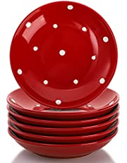 AVLA 6 Pack Ceramic Sauce Dishes, 5.5 Inch Porcelain Dipping Bowls Set, Round Snack Cups for Sushi Sauce, Soy, BBQ Dish, Appetizer Plates ( Polka Dot, Red )