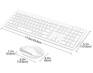 MoKo Slim Keyboard and Mouse Set, Ultra-Thin 2.4G Light Full-Size Wireless Keyboard & Mouse Combo with Nano USB Receiver for Android, Windows, Laptop, Desktop, PC, Notebook, Computer - White (Color: White)