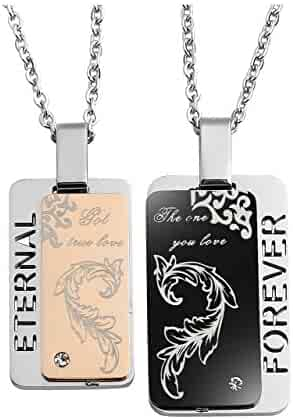 43d047261c Jovivi Personalized Custom 2pcs Promise Forever Eternal Love Stainless  Steel Couple Necklaces Dog Tag Pendant His
