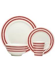 Red Vanilla TC007-016 16-Piece Race Stripe Dinner Set, Red
