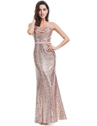 Womens Sexy Long Deep V-Neck Sequin Evening Dress 07109