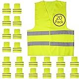Upper Midland Products - Chaleco reflector de seguridad (20 unidades), color amarillo
