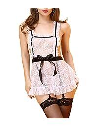 Marrymi Buy one get one Women Deep V-Neck Sexy Lingerie for Women for Sex Teddy Lingerie Lace Lingere V-Halter Bodysuit S-XXL