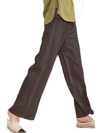 Les umes Women's Casual Linen Elastic Waist Trousers Beach Baggy Long Pants