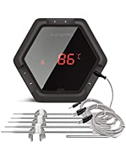 Inkbird Draadloze en Bluetooth Barbeque Thermometer met 6 Probes,50 Meter Bereik, een USB Oplaadbare Batterij, Timer en Temperatuur Alarm (Zwart)