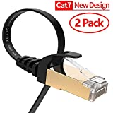 Ethernet Cable, VANDESAIL 2 Pack 6.5ft CAT7 RJ45 LAN Cable High Speed Gigabit Network Patch Cord Gold Plated (2m)