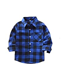 Yober Kids Boys' Girls' Long Sleeve Button Down Plaid Shirt