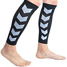 Faladi High Performance Graduated Calf Compression Sleeves for Men& Women (1 Pair)-Help Relief Shin Splints, Calf Strain and Reduce Fatigue -Great for Running,Cycling,Maternity,Travel&More