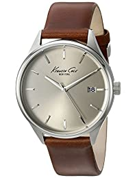 Kenneth Cole New York Men's 'Classic' Quartz Stainless Steel and Brown Leather Dress Watch (Model: 10029305)
