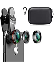 KINGMAS 3 in 1 Universal 198° Fish Eye Lens + 0.63X Wide-Angle Lens + 15X Macro Clip Camera Lens Kit for iPad iPhone Samsung Android and Most Smartphones