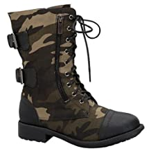 Top Moda Military Style Lace up Fashion Combat Boots Tmfab-45 Black or Taupe