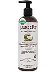 PURA D'OR Organic Fractionated Coconut Oil (473ml) Ecocert & USDA Certified Organic, 100% Pure & Natural Hexane Free Moisturizing Carrier Oil For Face, Skin, and Hair (Packaging may vary)