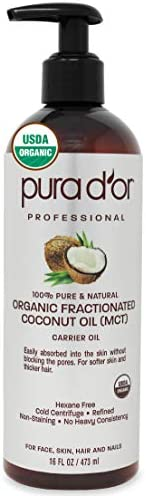 PURA D'OR Organic Fractionated Coconut Oil (16oz / 473ml) USDA Certified 100% Pure & Natural MCT Oil Susta