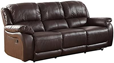 Milton Greens Stars Rena Top Grain Leather Reclining Sofa, Espresso