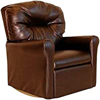 Dozydotes Contemporary Child Rocker Recliner Chair - Pecan Brown Leather-Like