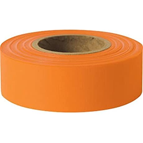 Presco Solid Color Roll Flagging Standard Taffeta 1 3 16 X 300 Orange 18 Pack